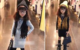 Promotion les brunes Les enfants chauds de vente de mode vêtent les gilets de filles gants de pantalons les gosses noirs marron outwear costumes marqués des enfants A6557