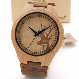 Wholesale New Wolf Deer Styles Bamboo Wood Watches Men s Luxury Brand Clock Leather Band Wooden Bamboo Wristwatches In Wood Box
