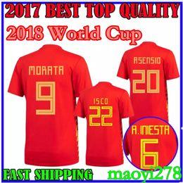 top Thai Quality ASENSIO MORATA ESPANA home red Spain jersey soccer shirt world cup 2018 RAMOS INIESTA Football shirt Camisa maillot de foot