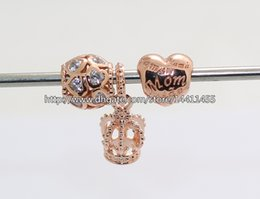 925 Sterling Silver Charms and Rose Gold Plated Bead Set with Charm Box Fits European Pandora Jewelry Charm Bracelets -Crown & Heart Sets