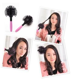 Descuento resistente para el cabello de calor Bola del estilo peine del cepillo de pelo al por mayor de Diseño 3D-brushing Detangling Salon prueba de calor peina el pelo cepillos del maquillaje de las herramientas de peinado del pelo