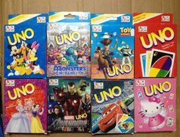 Wholesale 100LOT HHA393 Frozen Ironman KT Cars princess UNO Poker Card Cartoon Family Fun Entermainment Board Game Standard Edition Kids Funny Game