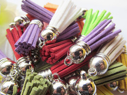 Free Shipping 50Pcs 39mm Mixed Suede Leather Jewelry Tassel For Key Chains  Cellphone Charms Top Plated End Caps Cord Tip