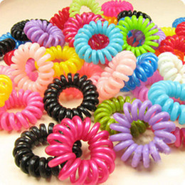 10pcs lot Telephone Cord Elastic Ponytail Holders Hair Ring For Girl Rubber Band Tie