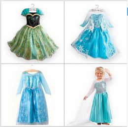 Wholesale 1 pc kids princess dress girl dress Elsa Anna summer dress longsleeve dress costume diamond many designs in our shop
