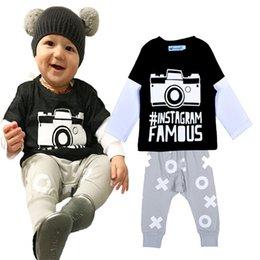 Caméras pour les filles en Ligne-Retail 2016 INS modèle de caméra garçons ensemble de vêtements printemps style automne caméra de bande dessinée imprimé T-shirt + pantalon de harem 2pcs sets bébé vêtements fille