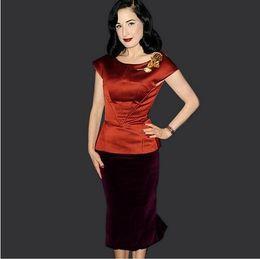 lcw New fashion Womens Celebrity Elegant Colorblock Satin Velvet Peplum Cap Sleeve Wear to Work Business Office Sheath Pencil Dress