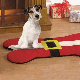 Sieste chat à vendre-Lit de chien de Noël Santa Belt Conception de forme osseuse Pet Sleeping Nap Mat Pet Cat chaise de canapé Dog Fournitures Noël vacances