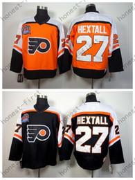 Philadelphia Flyers 1998 Ron Hextall Throwback Hockey Jerseys Cheap Orange Black CCM Vintage #27 Ron Hextall Stitched Jerseys
