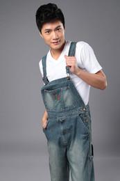 Wholesale-denim bib pants Mens casual straight mens one piece jeans with suspenders plus size denim overalls jean jumpsuit for men
