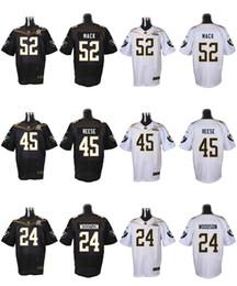 Wholesale 2016 Pro Bowl Mens Jerseys Raiders Marcel Reece Charles Woodson Khalil Mack Black White Stitched Jerseys