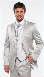 Custom Made Groom Tuxedos Shiny Silver Groomsmen Peak Lapel Best Man Suit Bridegroom Wedding Prom Dinner Suits (Jacket+Pants+Tie+Vest) K628