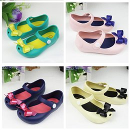 Wholesale Child Girl Summer Bow Shoes - 30pairs Mini Melissa Girls Sandals 2015 Summer style kids shoes Cute Bow Children Bowtie Baby beach shoes Free shipping 201506HX