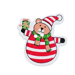 Wholesale 2015 New Style Multicolor Christmas Snow Bear Wooden Buttons Fit Sewing and Scrapbook party decoration