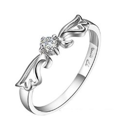 Angel CZ Diamond Engagement Rings for Women Silver Plated Crystal Jewelry Wedding Ring 2016 Anel Aneis Wholesale