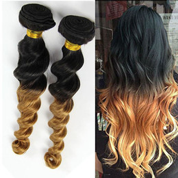 Wholesale 1B Two Tone Peruvian Virgin Loose Wave Hair Weft Extensions Eco quality A Peruvian Loose Wave Ombre Human Hair Weaves
