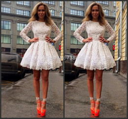 Little White Short Homecoming Dresses A Line Jewel Neck Long Sleeves Appliques Lace Above Knee Length Cocktail Prom Evening Gowns BO8714