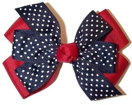 "4"" Red Navy white Dot grosgrain Double Layered pinwheel girl hair Bows hairbow headwear headdress Clip 12pcs"