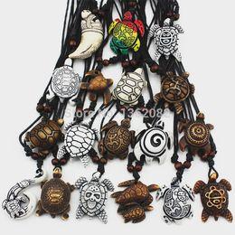 Lot 18pcs Fashion Imitation Bone Carving Mix Lucky Surfer Sea Turtles Charm Pendants Adjustable Cord Necklace Amulet Gift MN345
