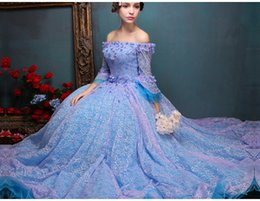 Wholesale 100 real royal full lace flowers slash collar ball gown medieval dress princess Renaissance Gown queen Victoria dress Belle Ball