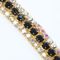Wholesale 3 Row Black Costume Applique Rhinestone Trims Golden x Yard Jewelry DIY Jewelry Findings Components