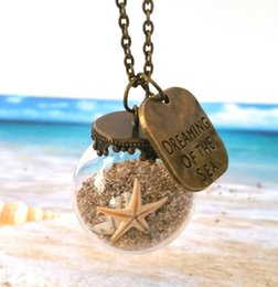 Wholesale 10pcs Miniature Beach Globe Sand Shells Starfish Beach Necklace Tiny Beaches Beach Glass Jewelry Beach Vial Jewellery
