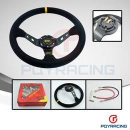 Wholesale Steering wheel ID inch mm OMP Deep Corn Drifting Steering Wheel Suede Leather Steering wheels
