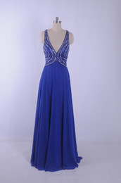 Royal Blue Fashion Evening Dresses Sexy V Neck Long Chiffon Party Dresses Vestidos de festa Sweep train Real picture Beading Prom Gowns 2015