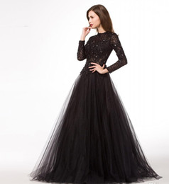 2019 Black Evening Dresses with Long Sleeve New Arrival A Line Formal Evening Prom Gowns Long Robe Soiree Longue evening prom dress