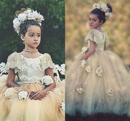 Princess Vintage Flower Girl's Dresses 3D Floral Applique Cap Sleeves Tulle Lace Kid Girl's Pageant Dresses for Sale BA0597
