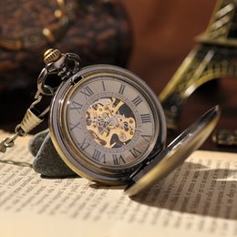 Wholesale Engraved Roman Men Pocket Watch Fashion Round Grey Mechanical Pocket Watch with Pendant Chain Luxury Brand Watch PW102