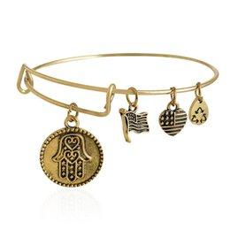 Wholesale ALEX AND ANI Palm Russian Gold Charm Bangle Expandable Bracelet Fast Ship Expandable Wire Bangle Bracelet for Women
