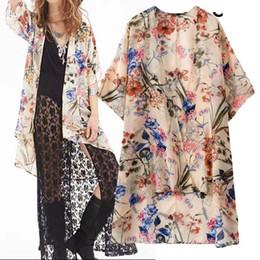 SZ2943 Autumn 2015 New Europe and United States Woman's Blouses Fashion Floral Print Chiffon Kimono Casual Cardigans Shirt Coat