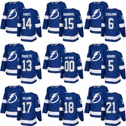 men women youth 2018 season Tampa Bay Lightning 18 Ondrej Palat 17 Alex Killorn 14 Chris Kunitz 21 Brayden Point Ice Hockey Jerseys Blue