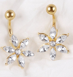 2015 Hot Sale Gem 18k Gold Flower Crystal Belly Button Rings 316L Stainless Steel Navel Piercing Dangle Belly Rings Body Jewelry