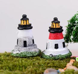 2pcs mini resin Lighthouse fairy garden miniatures gnome moss terrarium decor crafts bonsai home decor