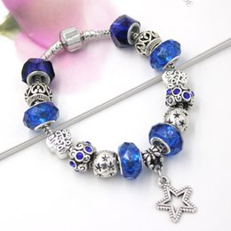 Free Shipping New Arrival Charms Bracelets European Star Bead Royal Blue Bead Star Charms Bracelets for Women Gift