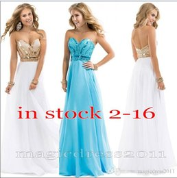 Wholesale Sparkle Prom Dress Stock - 2015 IN STOCK Prom Evening Dresses Noble Beaded Sweetheart Chiffon White Rose Gold Sparkle Long Formal Pageant Gowns Party Dress Cheap