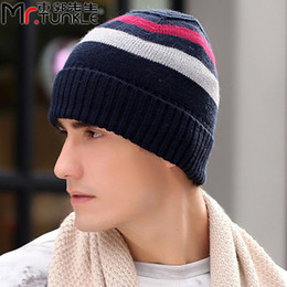 Wholesale Men New style Knit Hat Mills Worsted Wool Ribbed Watchcap Beanie Fleece Caps Fall Winter Sports Outdoor knitting Skull Fashion Hats for Man