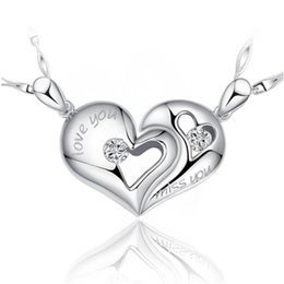 925 sterling silver items half heart crystal jewelry pendant necklaces wedding couples love charms free shipping