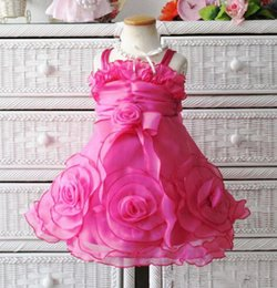 New Girls flower Princess Dresses pink Party Dress for baby and Children christmas party pretty dress, free shipping
