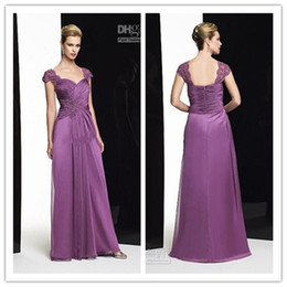 fashion collection purple chiffon mother of the bride dresses A-line floor length scoop zipper dresses new design beads ruffle dresses