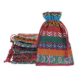 Wholesale x14cm Yellow Tribal Tribe Pattern Drawstring Jewelry Gift Bag Pouches