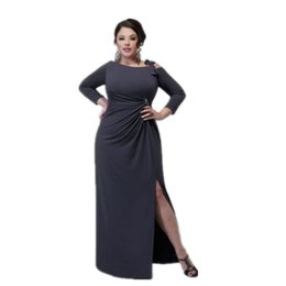 Wholesale Grey Large Big Plus Size Fat Women Clothing Frilled Maxi Dress With Bell Sleeves Ladies Winter Maxi Long Sleeve Split Long Dress