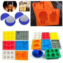 Wholesale 8pcs Death Star Wars Silicone mold Darth Vader Storm Trooper R2D2 Falcon X Wing Hans Solo Silicone Mold Ice Cube Tray