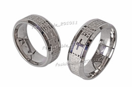 Stainless Steel Etched English Lord's Prayer Cross Wedding Silver Men's Women's Band Ring Size 6-14 New