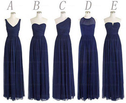Custom Made 5 Styles Long Bridesmaid Dresses A Line Back Zipper Floor Length Navy Blue Chiffon Ruched Cheap Prom Evening Party Dress