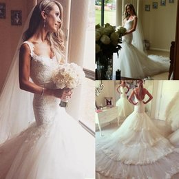 Gorgeous 2016 Newest Full Lace Spaghetti Mermaid Wedding Dresses Sexy Backless Tiered Tull Lace Applique Cathedral Train Bridal Gown EN2298