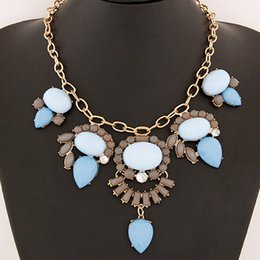 Fashion Gold Chain Famous Brand Jewelry Choker Necklace Women Jewellery Water Drop Necklaces & Pendants Maxi Big Colar Necklace