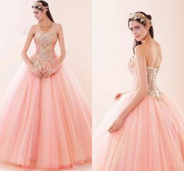 Pink Sexy Sweetheart Quinceanera Dresses Lace up Tulle Luxury Bling Crystal Beaded Sweet 16 Masquerade Prom Quinceanera Ball Gowns